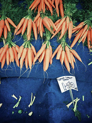 Carrots At The Market Poster by Tom Gowanlock
