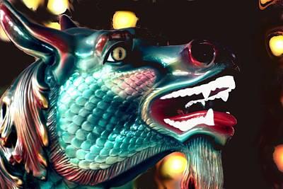 Carrousel Dragon Horse Poster by Diane Merkle