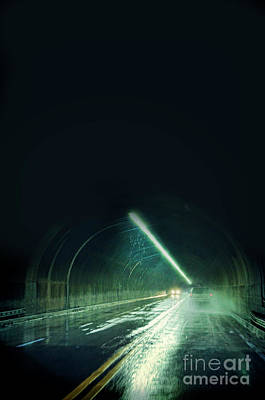 Cars In A Dark Tunnel Poster by Jill Battaglia