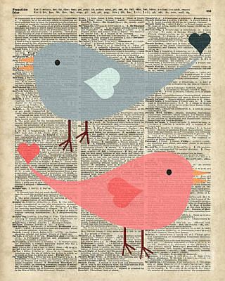 Cartoon Birds In Love  Poster by Jacob Kuch