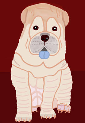 Cartoon Shar Pei Poster by Marian Cates