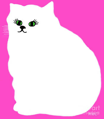 Cartoon Plump White Cat On Pink Poster by Marian Cates