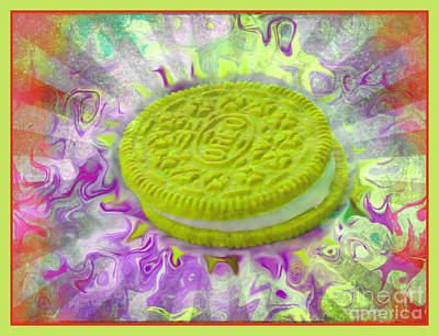 Chartreuse Oreo Cookie - Abstract Food Art Poster by Shelly Weingart