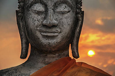 Carved Stone Buddha Statue Wat Temple Complex In Old Siam Kingdom Ayutthaya, Thailan Poster