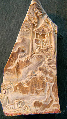 Poster featuring the relief Carving A Landscape by Debbi Saccomanno Chan