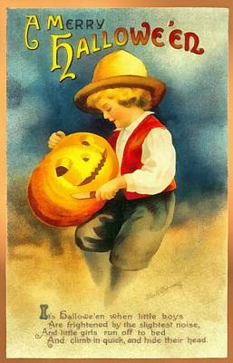 Carving A Pumpkin Poster by Ellon Clapsaddle