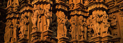 Carving Details Of A Temple, Khajuraho Poster