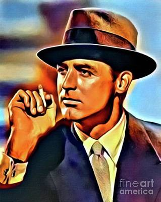 Cary Grant, Hollywood Legend, Digital Art By Mb Poster by Mary Bassett