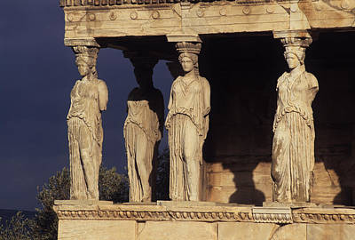 Caryatides At The Acropolis Poster
