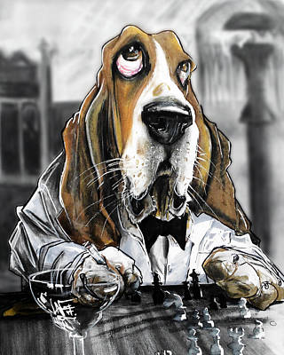 Casablanca Basset Hound Caricature Art Print Poster