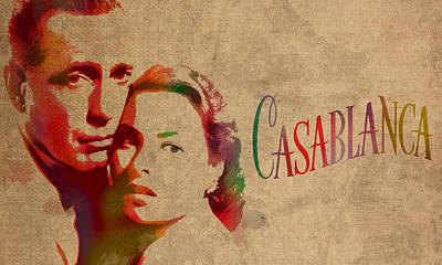 Casablanca Watercolor Painting Humphrey Bogart Ingrid Bergman On Worn Distressed Canvas Poster by Design Turnpike