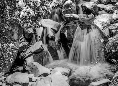 Cascade Creek In Black And White Poster