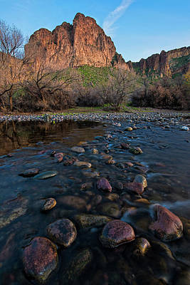 Poster featuring the photograph Cascades In The Salt River At Sunset by Dave Dilli