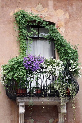 Cascading Floral Balcony Poster