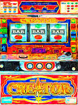 Casino Slot Machine . One Arm Bandit . Triple Bar Bonus Jack Pot Poster by Wingsdomain Art and Photography