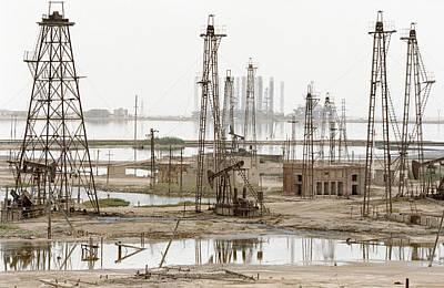 Caspian Sea Oil Rigs Poster by Ria Novosti
