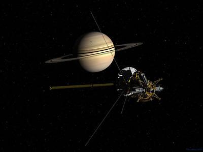 Cassini Closing In On Saturn Poster