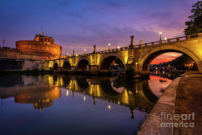 Castel Sant Angelo And The Tiber Poster by Inge Johnsson