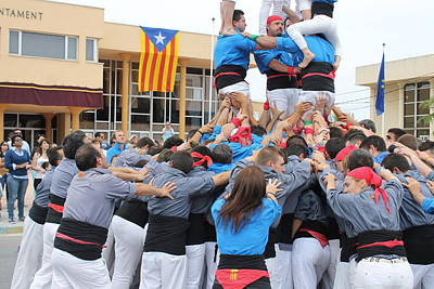 Casteller Catalan Human Tower Spain Poster by Jane Linders