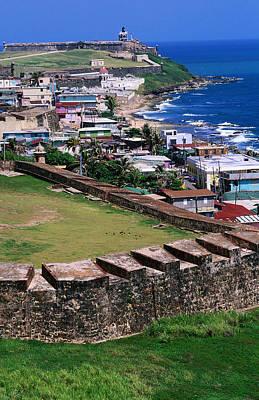 Castillo San Felipe Del Morro Overlooking Coastline, San Juan, Puerto Rico Poster by John Elk III
