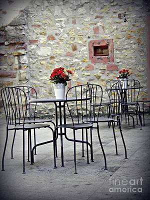 Castle Courtyard Cafe Poster by Sarah Loft