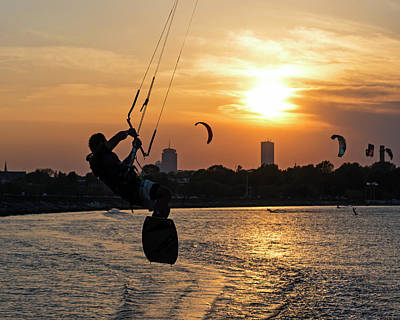 Castle Island Kite Boarder Boston Ma Sunset Poster by Toby McGuire