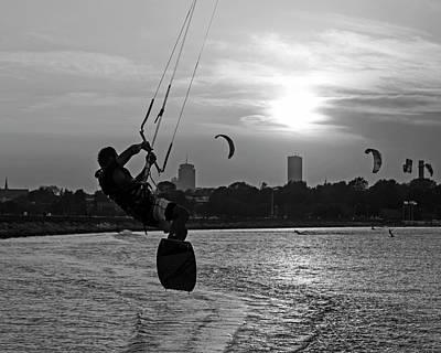 Castle Island Kite Boarder Boston Ma Sunset Black And White Poster
