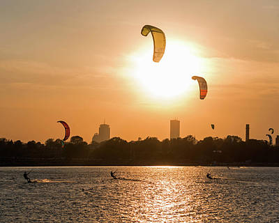 Castle Island Kite Boarders Boston Ma Sunset Poster