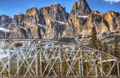 Castle Mountain Bridge- By Carol Cottrell Poster by Carol Cottrell