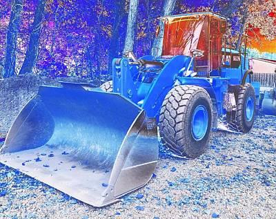 Cat 926m Wheel Loader Caterpillar - Abstract Blue Poster by Scott D Van Osdol
