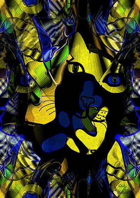 Cat Abstract Poster by Natalie Holland