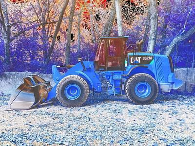 Cat Caterpillar 926m Wheel Loader Side Profile - Abstract Blue Poster by Scott D Van Osdol