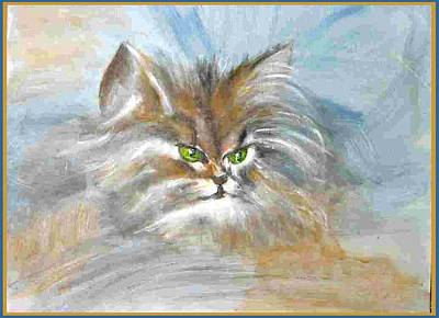 Poster featuring the painting cat by Dragica  Micki Fortuna