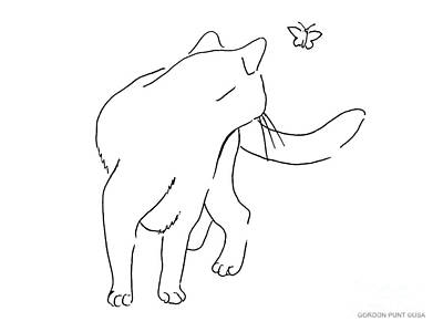 Cat-drawings-black-white-2 Poster by Gordon Punt