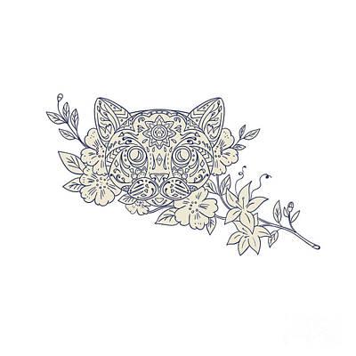 Cat Head Jasmine Flower Mandala Poster by Aloysius Patrimonio