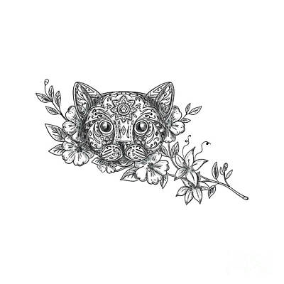 Cat Head Jasmine Flower Tattoo Poster by Aloysius Patrimonio