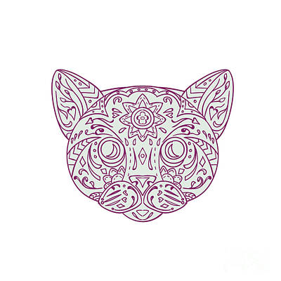 Cat Head Mandala Poster by Aloysius Patrimonio