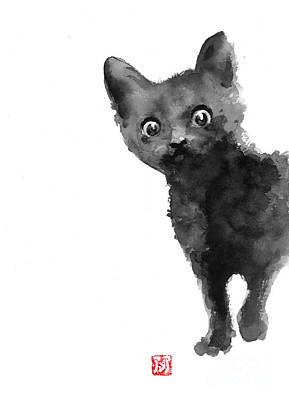 Cat Illustration Watercolor Painting Poster