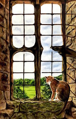 Cat In The Castle Window-close Up Poster