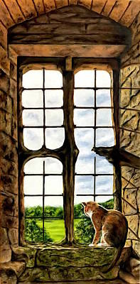 Cat In The Castle Window Poster