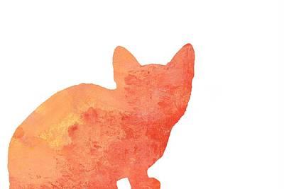 Watercolor Orange Cat Silhouette Poster