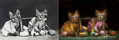 Cat - Mischief Makers 1915 - Side By Side Poster by Mike Savad