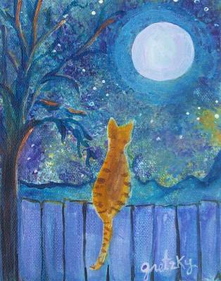 Cat On A Fence In The Moonlight Poster by Paintings by Gretzky