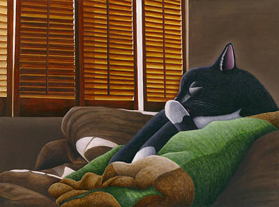 Cat Paw Lick Poster by Carol Wilson