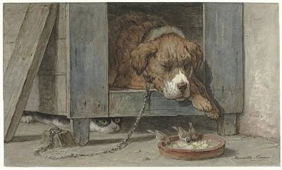 Cat Spy Birds At A Sleeping Dog, Henriette Ronner, 1831 - 1909 Poster by Celestial Images