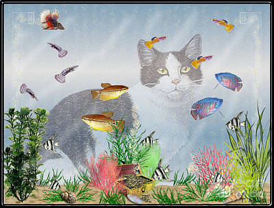 Poster featuring the digital art Cat Watching Fishtank by Terri Mills