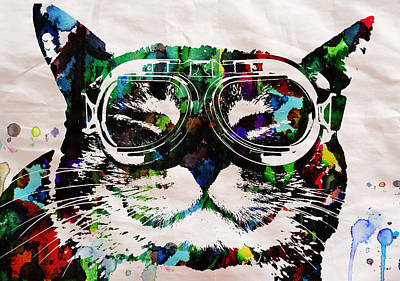 Cat Watercolor Rainbow Dreaming In Color Poster Print By Robert R Poster