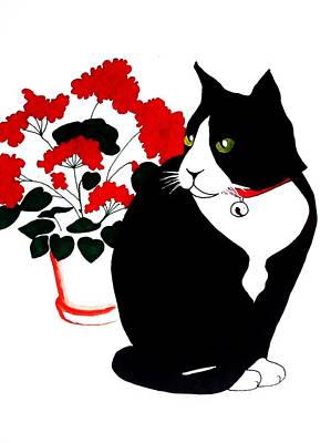 Cat With Geraniums Poster by Anita Stone