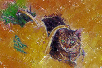 Cat With Watering Can Poster