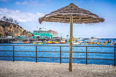 Catalina Island Straw Umbrella Picture Poster